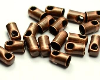 36 Pieces Antique  Copper 3.3x6 mm Leather Finished Cap -İnside  Diameter 3 mm