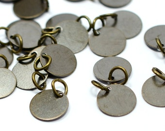 """50 Pieces Antique Brass  10 mm (25/64"""" ) Round Disc with Jump Ring Attached Charms Findings"""