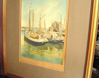 Rare signed tinted photo art by H. Marshall Gardiner, title In the Ship Nantucket, Nantucket fishing boats, Canadian & US artist, seascape
