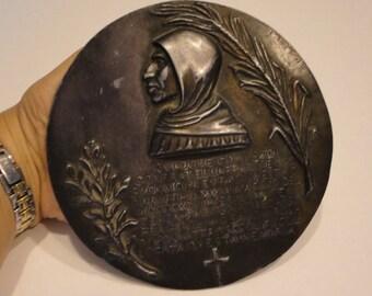 FRA Girolamo Savonarola Bronze Commemorative Plaque Antique Wall Hanging Art Secret Places In Italy