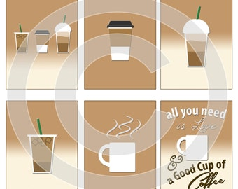 Starbucks Coffee Digital Scrapbooking Journaling Cards - Frappucino Latte - Project Life Pocket Page Inserts - Printable - DIGITAL DOWNLOAD