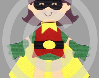 Robin Girl Super Hero Scrapbook Die Cut Doll Superhero Project Life