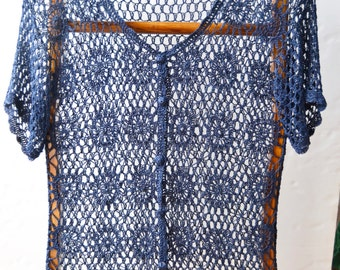 crochet jacket with short sleeves