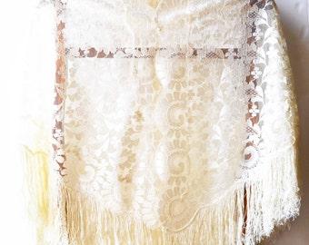 broken white floral scarf