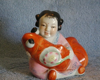 Asian Figurine - Girl with Carp