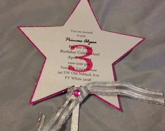 Princess wand invites-- Princess wand invitations Fairy wand invites Magical Birthday Wand Star invites