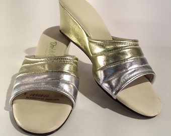 1960s Silver and Gold Wedge Slides by Daniel Green -- Comfy and Cute