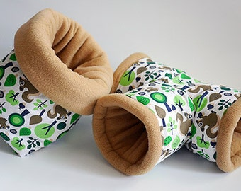 SAVE SHIPPING: 1x cosy cuddle sack / sleeping bag XXL + 1x T-tunnel for guinea pigs, hedgehogs or sugar gliders (squirrels/caramel)