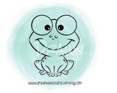Frog ONLY Image, Digital Stamp, Coloring Page, Card Image- S12-FROGSING