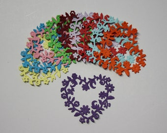 Set Of 10 Flower/Hearts/Die Cuts/Embellishments/Paper Cuts/Scrapbooking/Card Making