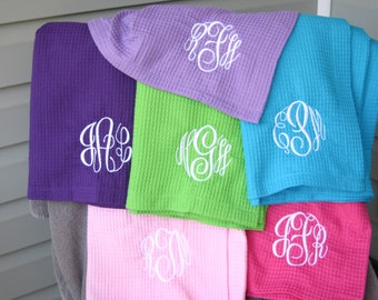 Monogrammed Waffle Weave Ladies Spa Wrap 12 Colors