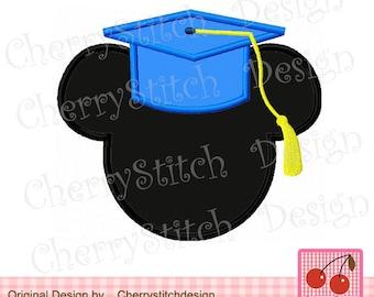 "Graduation Mickey Embroidery Applique Design- 4x4 5x5 6x6"""