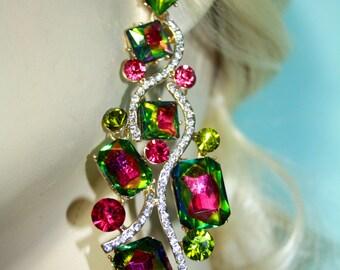 Rhinestone Chandelier Earrings Bridal Prom Pageant 3.9 inch Vitrail Drag