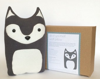 Plush Craft Animal Friends Pillow Kit : DIY Kit Raccoon Woodland Pillow Plush Fleece Fabric Animal