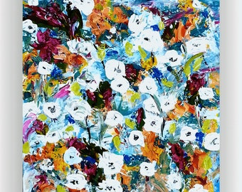 Abstract Flower Painting colorful Art Abstract Painting Original Painting Palette Knife Textured Art 20x24 Canvas | by jillsfineart