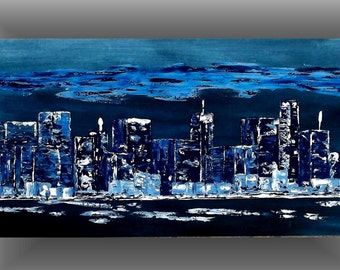 Large City Painting Original Abstract Acrylic Painting Urban City Skyline Arts And Collectibles 24x48 by jillsfineart