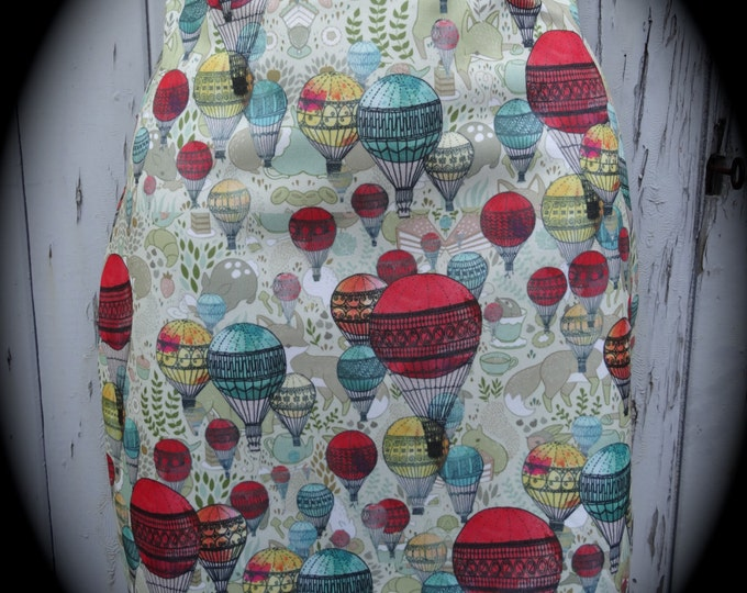 Hot Air Balloon Mini Skirt - Size 12 14 - Bodycon Fox Cartoon Animal Vintage