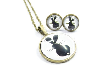 Set jewelry Rabbit black white