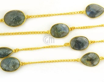 40% OFF Beautiful Labradorite Bezel Gold Vermeil Connectors,15mm up with 24k Gold Plated Chain (GPLB-20003)