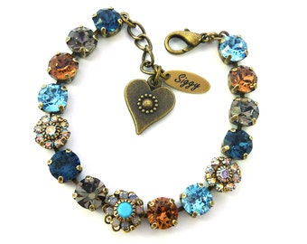 Swarovski crystal tennis bracelet, topaz and blue, Victorian style, 8mm Swarovski elements, Siggy Jewelry