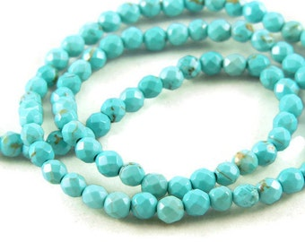 Turquoise Gemstone Faceted Round Beads - 6mm - 16 Inch Strand - Jewelry Supplies - Beading Supplies