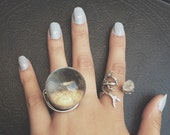 LARGE - Clear Quartz Crystal Ball Statement Ring - Adjustable Ring