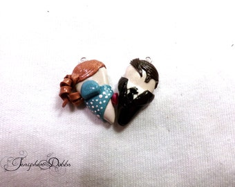 Disney Couples Heart Necklaces: Enchanted's Giselle and Robert