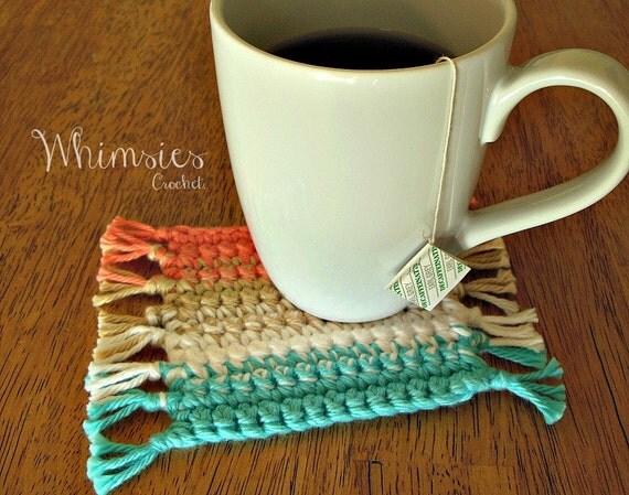 Free Crochet Mug Coaster Pattern : Items similar to Mug Rug, Coaster, Crochet Coaster ...
