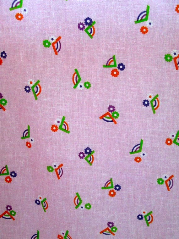 """Small Vintage FABRIC Piece~Rainbow and Flower Design Pink Cotton Blend Semi-Sheer 45"""" Wide 33"""" Long"""