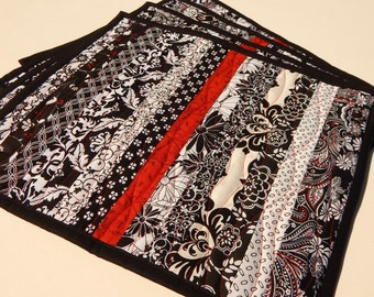 Black & White with a Touch of Red Quilted Placemats - set of 4