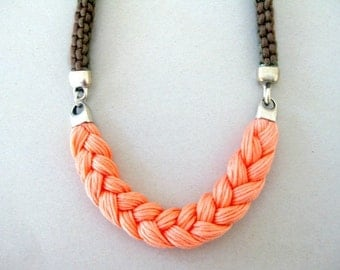 coral statement necklace - rope necklace in earth tones and coral - coral braided necklace