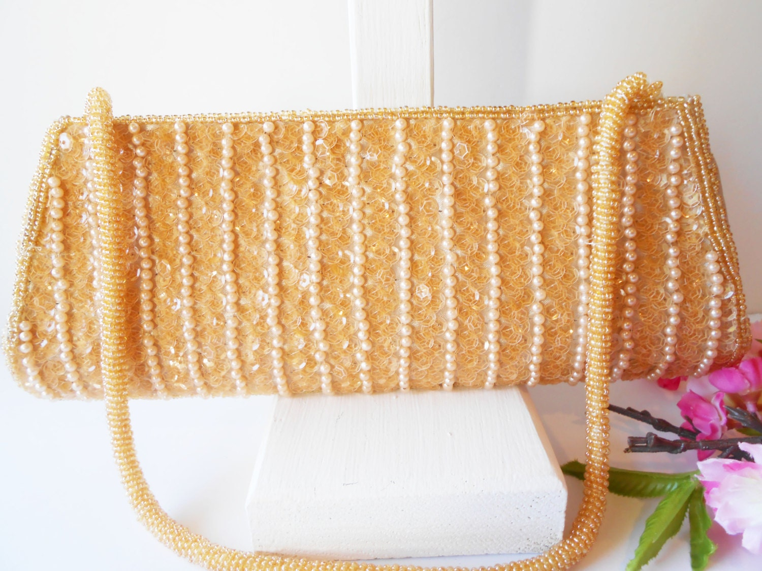 vintage gold beaded evening bag sparkly by littlebitsofglamour