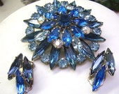 TREASURY LIST...Vintage Rhinestone  Brooch/Earrings...3 Tier Sparkling Blue Brooch....Iridescent Stones...Matching Clip Backs