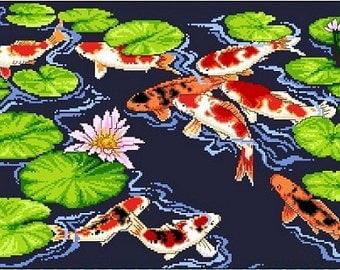 Kois and Lilies -Cross Stitch Pdf Pattern
