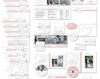 Marketing set and photography contract business forms sketched camera grey, pink and white - all editable psd files