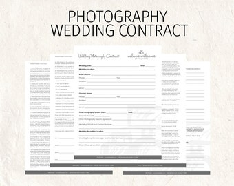 Wedding photography contract - wedding contract - photography business forms editable templates - 5 psd files supplied