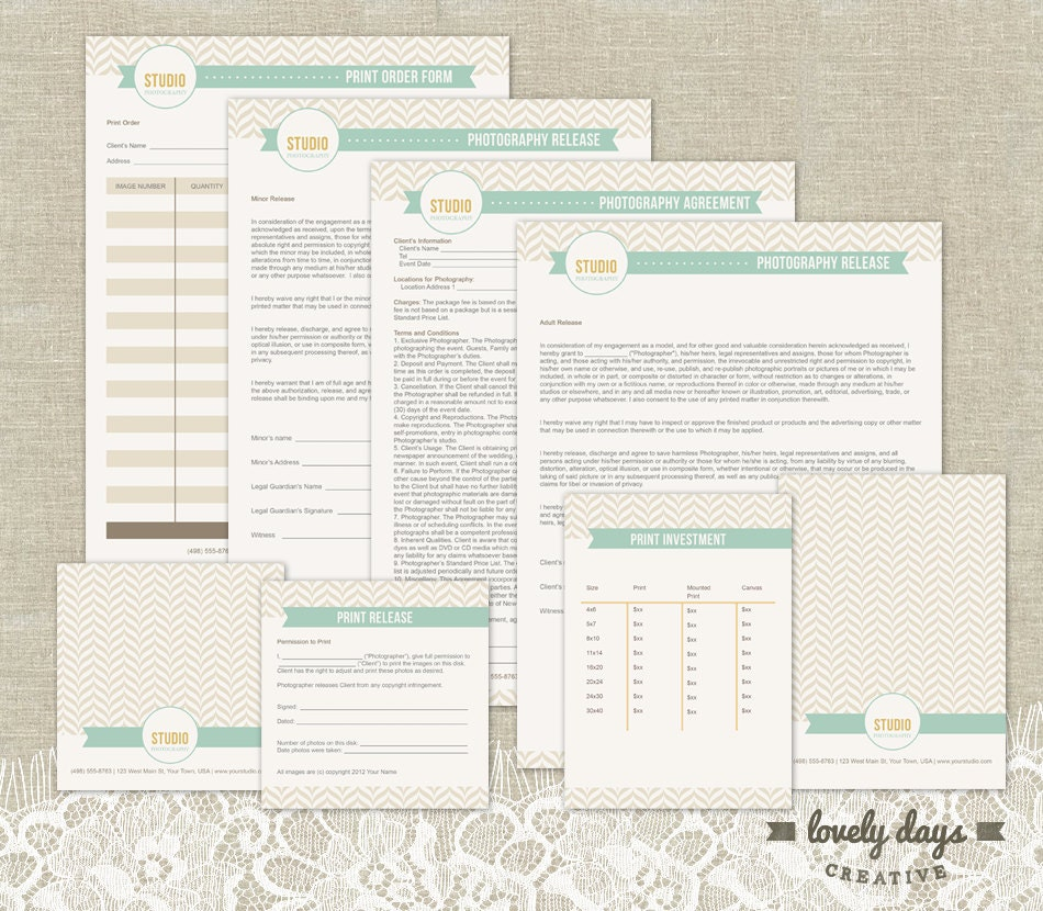 Photography Business Forms Templates Contracts INSTANT – Business Forms Templates
