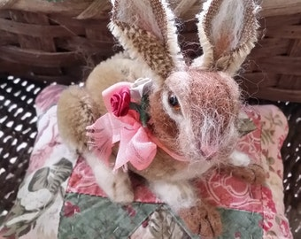 Mohair and needlefelted rabbit on a pincushion, Lucy Chamomile is SOLD