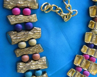 GOLD and Multi Colored WOOD BEAD Chain Belt