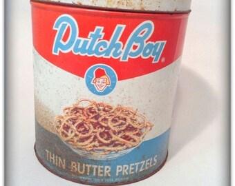 Vintage Dutch Boy Thin Butter Pretzels Tin