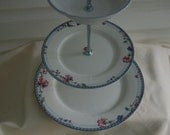 Blue Lattice, Matching Tea Stand/Cake Stand/Serving Tray, Oneida, Blue intricate design with pink flowers, Receptions, Weddings(G193