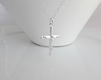 BIG Crucifix Necklace, Cross Necklace, UK Seller, Silver Crucifix Necklace, Long Cross Necklace, Jesus Necklace, Religious Necklace
