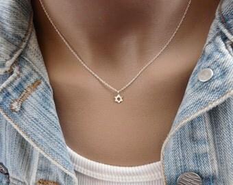 Tiny star of David necklace, Sterling silver necklace, Magen david, Delicate necklace, Minimalist necklace, Tiny star