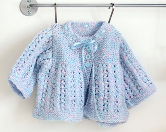 Knit Matinee Coat, Blue and Pink, Knitted Baby Matinee Coat, Infant Matinee Coat, Hand Knit Baby, Baby Sweater, Baby Knits