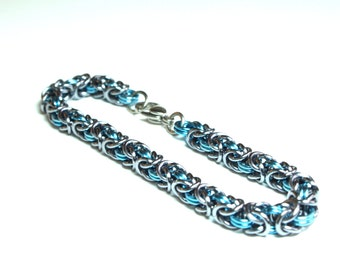 Light Blue and Gun Metal Anodized Aluminum Byzantine Chainmaille Bracelet
