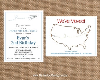 PAPER AIRPLANE Birthday + Baby Shower + Retirement + Moving Invitation (multiple styles) - Full Service Printing + Coordinating Items