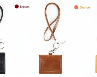 Lanyard & Horizontal ID Badge Holder 4 layers PU Leather