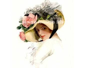Harrison Fisher Lady in the Hat Printable Art, Digital Print, Instant Download, Wall Art, Vintage Art