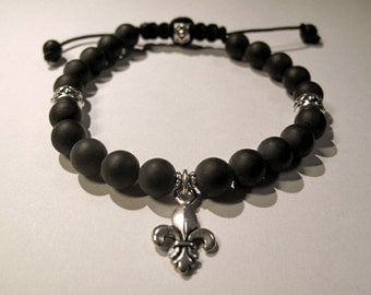Versailles collection - black onyx and silver fleur de lis bracelet