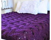 IN STOCK: Queen size Chunky Cable Knit Blanket in deep purple Cabled Wool Hand Knitted Blanket 1809.234.Q